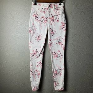 JustFab Floral Pink/White Jeans Sz. 25